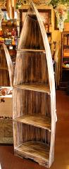 バリ家具 舟のラック 白茶L4段[H.約198cm]/アジアン雑貨/バリ雑貨
