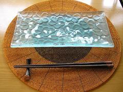 フランジパニ ガラス皿 28x14cm (磨りガラス)/アジアン雑貨/バリ雑貨