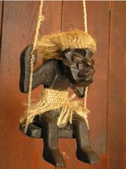 木彫りの原人 ブランコ吊り下げ