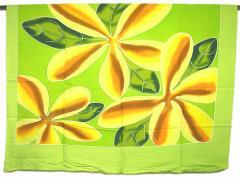 パレオ更紗/マルチクロス 手描き 絞り染め プルメリア フリンジ無し 黄緑 エスニック バリ アジアン アジアン雑貨