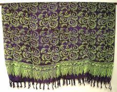 パレオ 更紗 マルチクロス チャップ 絞り染め リーフ唐草模様 濃紫系 アジアン雑貨 バリ雑貨 タイ雑貨 スパエステ用品