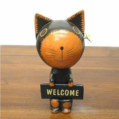 Welcome バリネコさん 黒 花飾り [約20cm] アジアン雑貨 バリ雑貨 木製 木彫り アニマル 猫 ネコ インテリア