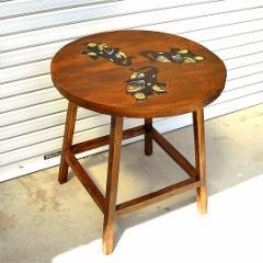 【送料無料】木彫りの丸テーブル 3頭の象さん[天板直径56.5cm] バリ雑貨 アジア雑貨 アジアン雑貨