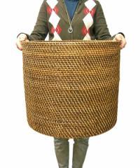 ラタンの持ち手付きバスケット円筒型 Lサイズ[W.45cm] 収納 ボックス アジアン雑貨 バリ雑貨 タイ雑貨 アジアンインテリア