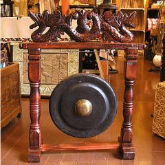 【送料無料】アジアの楽器 ゴング 銅鑼 どら ドラ 大 H.73cm 打楽器 民族楽器 竜の彫刻 アジアン雑貨 バリ 雑貨 インテリア