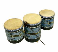 アジアの楽器 3連太鼓ドットペイン アジアン雑貨 バリ雑貨 タイ雑貨
