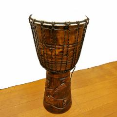 【送料無料】アジアの楽器ジャンベ[太鼓]H.60cm手彫り彫刻亀 アジアン雑貨 バリ雑貨 タイ雑貨 アジアンインテリア