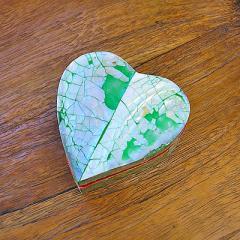 シェルの小箱 アクセサリーケース ハート型 S シルバーグリーン アジアン雑貨 バリ雑貨 インテリア 小物入れ ジュエリーケース