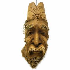 【送料無料】バンブーの根のアートマスク お面 40H [縦約40cm] エスニック バリ アジアン アジアン雑貨
