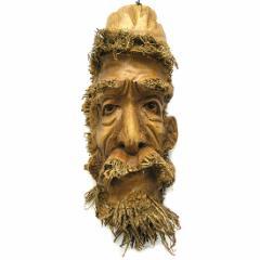 【送料無料】バンブーの根のアートマスク お面 40K [縦約40cm] エスニック バリ アジアン アジアン雑貨
