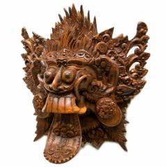 【壁掛け】木彫りの『ランダ』[横21cmx縦21cm]エスニック バリ アジアン アジアン雑貨