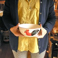 にわとり柄のお茶碗 ボウル [直径16cm] アジアン食器 アジアン雑貨 バリ雑貨 タイ雑貨 アジアンインテリア