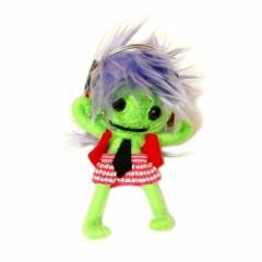 ブードゥー人形ストラップキーホルダー【LL】DJ女の子 黄緑[H.12cm] エスニック タイ アジアン タイ雑貨