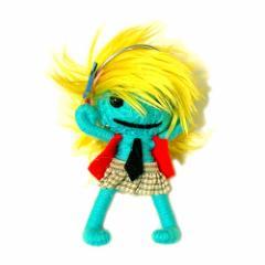 ブードゥー人形ストラップキーホルダー【LL】DJ女の子 ターコイズ[H.12cm] エスニック タイ アジアン タイ雑貨