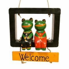 Welcomeプレート ウェルカム カエルカップル 黒 アジアン雑貨 バリ雑貨 タイ雑貨 スパエステ用品