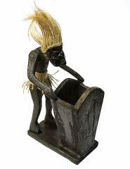 木彫りの原人 ペン立て/ナプキンホルダー バリ雑貨 アジア雑貨 アジアン雑貨