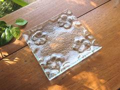 フランジパニ4輪 ガラス皿 13x13cm/アジアン雑貨/バリ雑貨