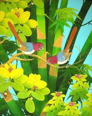 【送料無料】バリアート絵画L縦『森の小鳥達』 アジアン雑貨 バリ雑貨 タイ雑貨 アジアンインテリア