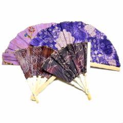 バティックの扇子 紫系 せんす エスニック バリ アジアン アジアン雑貨