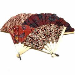 バティックの扇子 赤系 せんす エスニック バリ アジアン アジアン雑貨