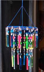 カラフルミラーの吊り下げインテリア 鏡の風鈴 バリ雑貨 アジア雑貨 アジアン雑貨