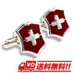 【レビューで送料無料】 カフスボタン カフリンクス 盾 クロス シールド レッド(赤) ジュエリー・アクセサリー メンズジュエリー・アクセ