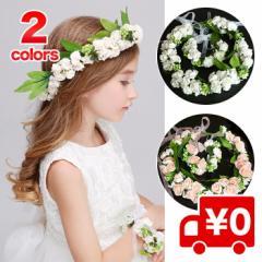 【レビューで送料無料】ヘッドドレス リストレット セット シンプル 花冠 花かんむり ハロウィン ウェディング 造花 写真撮影