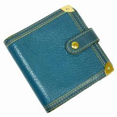 【中古】ルイヴィトン 二つ折り財布◆コンパクトジップ スハリ レディース◆定番人気 ブルー t7879