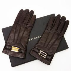 【中古】ブルガリ グローブ 手袋◆レディース◆定番人気 ブラウンxゴールド t11537