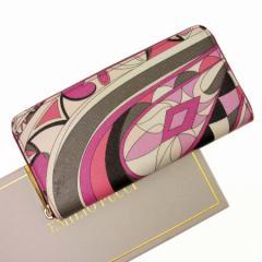 【中古】エミリオプッチ ラウンドファスナー長財布 ◆ 幾何学模様 レディース ◆定番人気 ホワイトxグレーxピンクxゴールド t11678