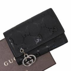 【定番人気】【中古】グッチ 6連キーケース  GGピアス GG柄 レディース メンズ ブラック t12066