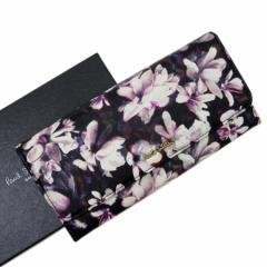 【定番人気】【中古】ポールスミス 二つ折り長財布  花柄 レディース ブラックxホワイトxピンク t12101