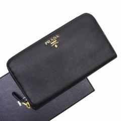 【おすすめ】【中古】プラダ ラウンドファスナー長財布   レディース メンズ ブラックxゴールド h16779