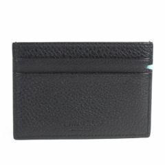 【定番人気】【中古】ティファニー カードケース パスケース   レディース メンズ ブラックxティファニーブルー y12456
