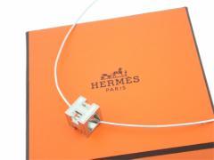 【中古】エルメス アクセサリー ネックレス ペンダント カージュドアッシュ Hキューブ レディース 定番人気 シルバー e26463