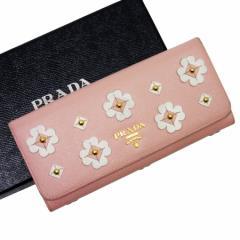 【中古】プラダ 二つ折り長財布 ◆  レディース ◆定番人気 ピンクxホワイトxゴールド h15152
