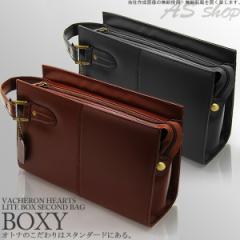 【送料無料】牛革 セカンドバッグ メンズ ボックス型 バッグ【VACHERON HEARTS】レザー 革 鞄 男性用 ヴァセロンハーツ