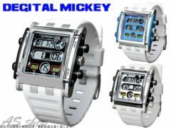 【送料無料】【Disney】 ミッキー スクエアタイプ デジタルウォッチ ホワイトラバーベルトメンズ レディース キ