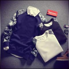 送料無料 トレーナー メンズ トップス 長袖 プルオーバー クルーネック 切り替え 大きいサイズ ※シャツは付いてません