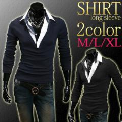 在庫処分 一掃 売り尽くし 処分品 現品 限り ポロシャツ メンズ 長袖 キレイめ カットソー 重ね着風 フェイクレイヤード ロンT