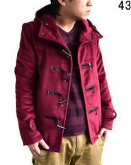 3000円以上送料無料 ダッフルコート メンズ アウター フェイクウール ファー脱着 ZIPデザイン ショート ダッフル コート メンズファッシ