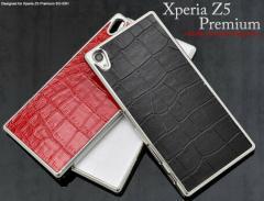 送料無料 スマートフォンケース メンズ 小物 スマホケース Xperia Z5 Premium SO-03H用 メタリッククロコダイルレザーデザインケース
