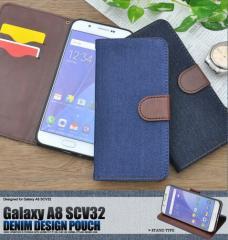 送料無料 スマートフォンケース メンズ 小物 Galaxy A8 SCV32用デニムデザインスタンド ケース ポーチ スマートフォン