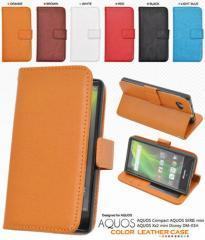 送料無料 スマートフォンケース メンズ 小物 AQUOS Compact SH-02H/SERIE mini SHV33/Xx2 503SH/Disney Mobile DM-01H用カラーレザー