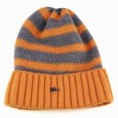 ワッチ ニット 帽子 ラコステ メンズ レディース 秋冬 ファッション ボーダー柄 ワッフルニット オレンジ