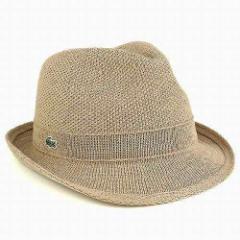ラコステ 春夏ファッション サマーニット 鹿の子編み ハット 中折れハット メンズ 帽子 ベージュ