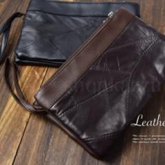 ★送料無料★ ポーチ メンズ クラッチバッグ セカンドバッグ ダブルファスナー 羊革 シンプル (2色) 【TN-201】