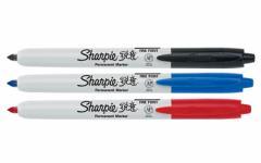 【並行輸入品】Sharpie シャーピー ノック式の油性マーカー リトラクタブル ブラック/レッド/ブルー