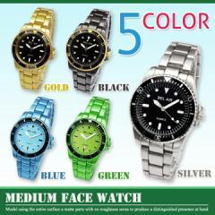 丸時計 メンズ 艶消しミディアムフェイス 腕時計 時計 男女兼用 レディース ブラック 黒 シルバー 【今週まで50%オフ以上】