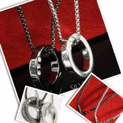人気 ネックレス 刻印 アンティーク チョーカー  リングネックレス 2カラー メンズ レディース 黒 銀【今週まで50%オフ以上】 ホワイ